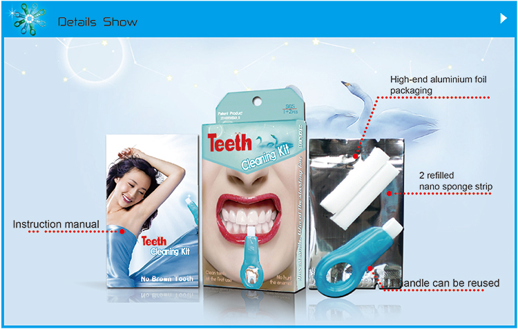 shareusmile magic teeth cleaning kit is melamine sponge strip + PP plastic handle